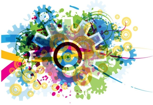 colorful gears background 04 vector