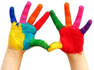 colorful hands stock photo