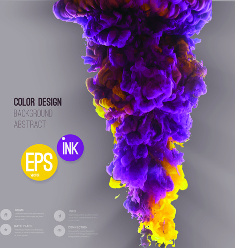 colorful ink cloud background vector