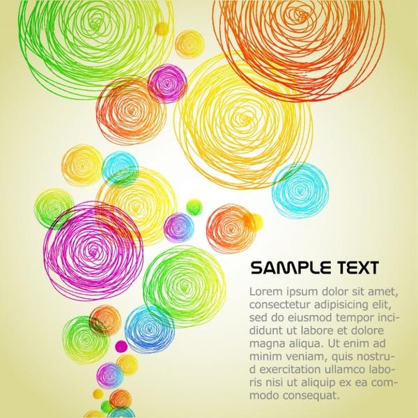 decorative background colorful flat handdrawn circles