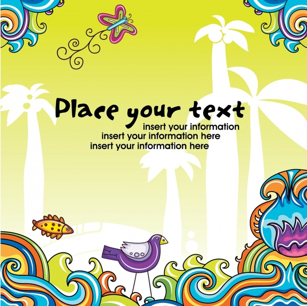 decorative background template colorful flat handdrawn nature elements