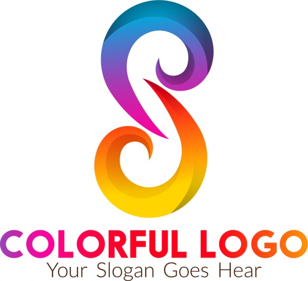 colorful logo design abstract curves style free vector in adobe