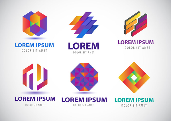 Colorful logo design elements with modern abstract style Free vector ...