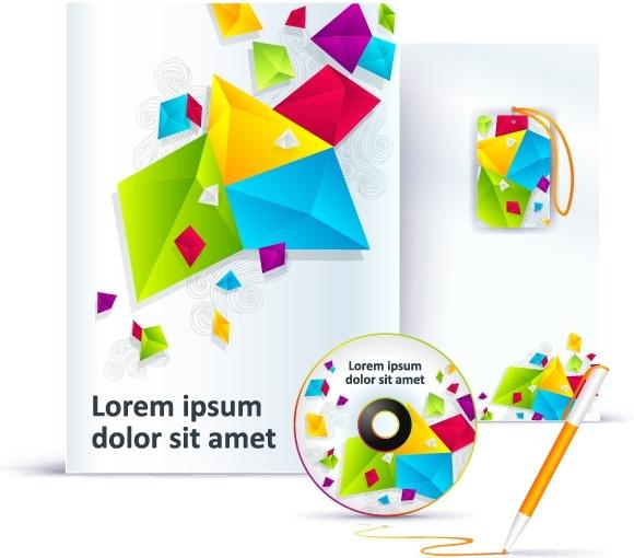 brand identity templates colorful 3d geometric decor