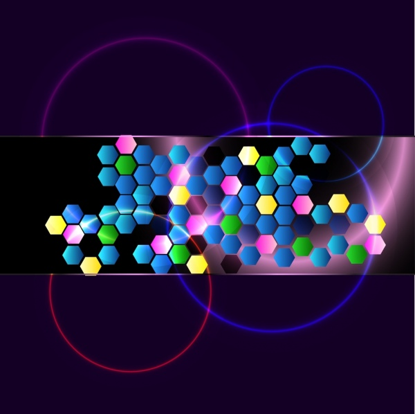 colorful neon light background hexagon circles decoration