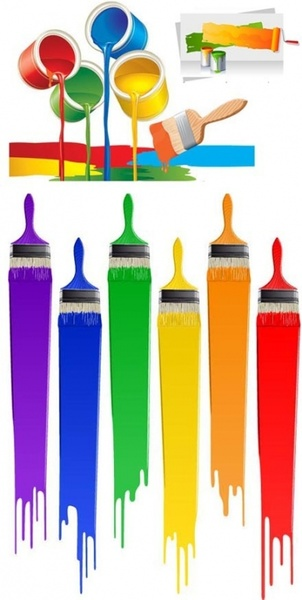 colorful paint theme vector