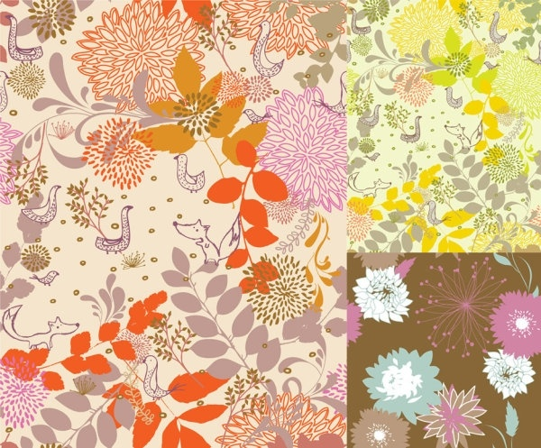 colorful plants and animals silhouette vector 2