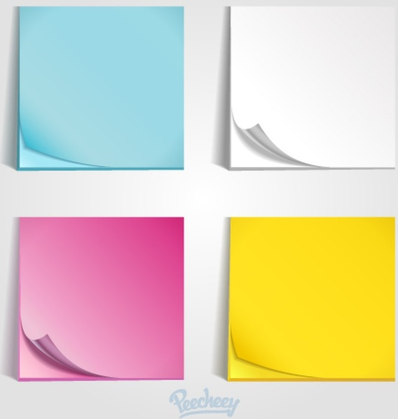 Colorful post it templates free vector in adobe for Post it labels templates