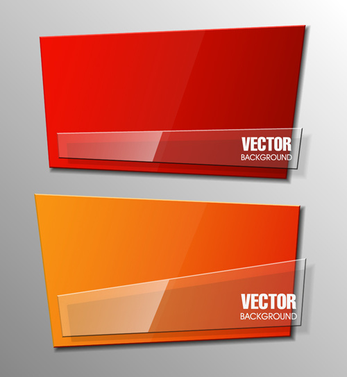 colorful shape with glass banners vector set