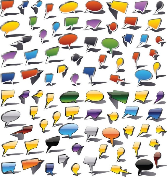 Colorful Speech Bubbles and Dialog Balloons Vector Graphic