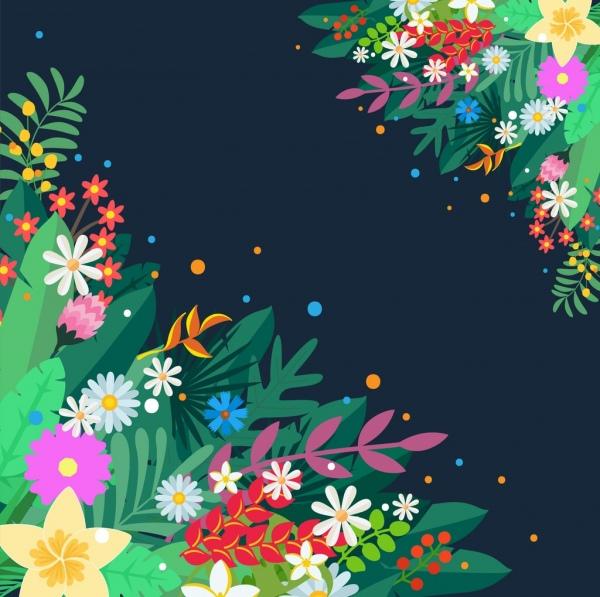 colorful spring flowers backgound contrast design