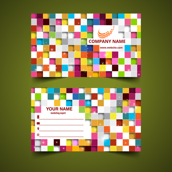 Colorful square abstract business card templates free vector in colorful square abstract business card templates reheart Gallery
