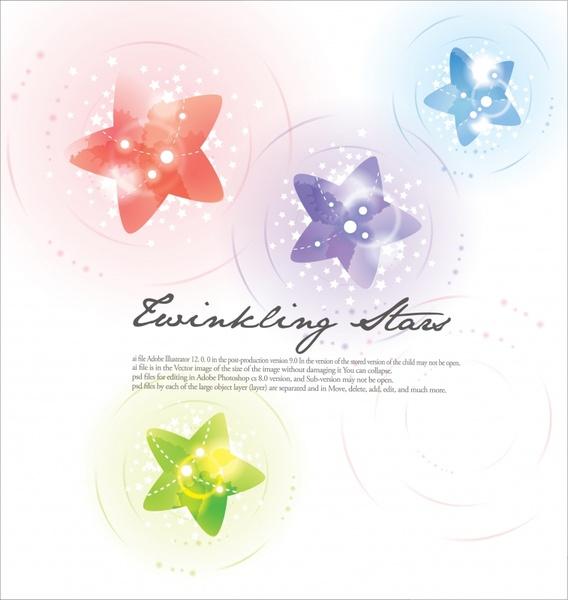 decorative background template sparkling stars decor bright modern