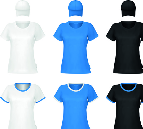 colorful t shirts and caps uniform vector template