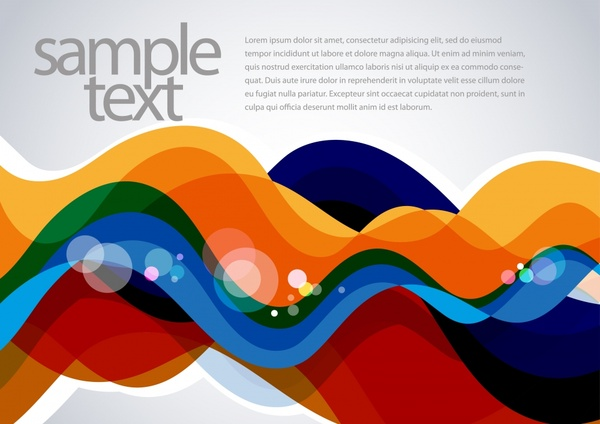decorative banner template colorful dynamic waving lines sketch