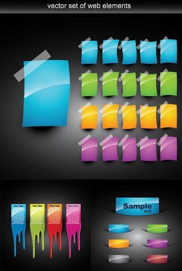 web elements sets colorful tags shiny modern design