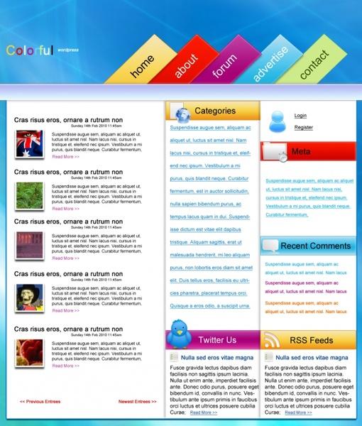 Colourful WordPress – Free PSD Template