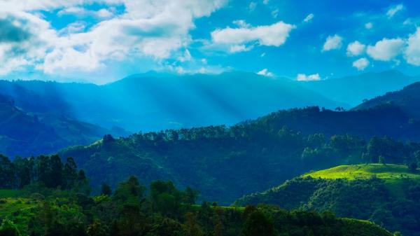 awesome mountain range scenery under sunlight