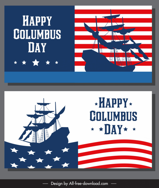 Columbus Day Banner Usa Flag Ancient Ship Silhouette Free Vector In Adobe Illustrator Ai Ai Format Encapsulated Postscript Eps Eps Format Format For Free Download 3 04mb