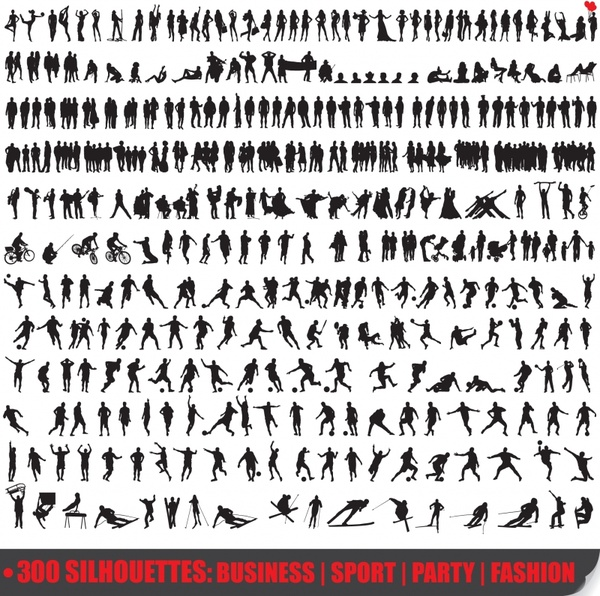 people activities icons collection dynamic silhouettes design