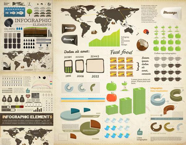 commercial chart elements vector