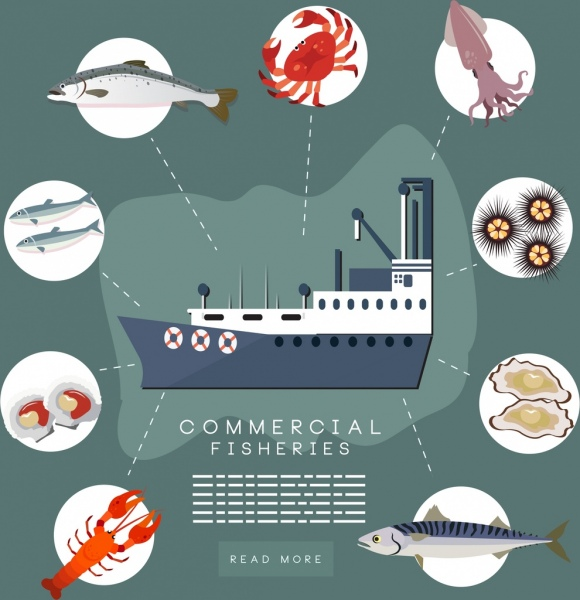 commercial fisheries banner vessel seafood icons