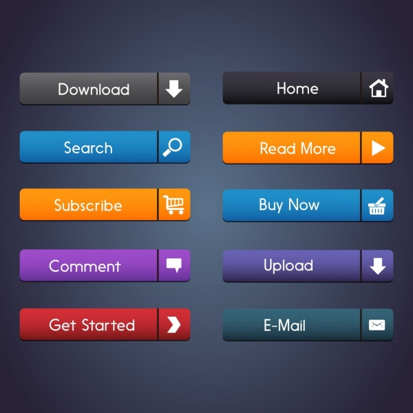 commercial webpage buttons collection shiny horizontal design