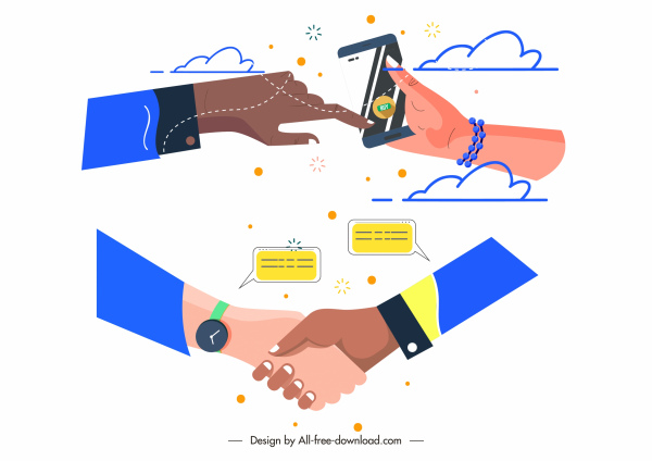 communication icons modern lifestyle sketch hands gestures