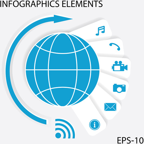 communication with media infographics elements vector