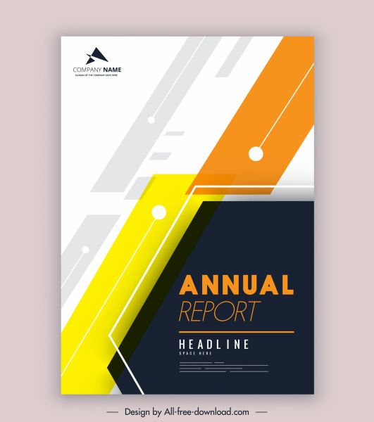 company annual report template modern colored flat decor