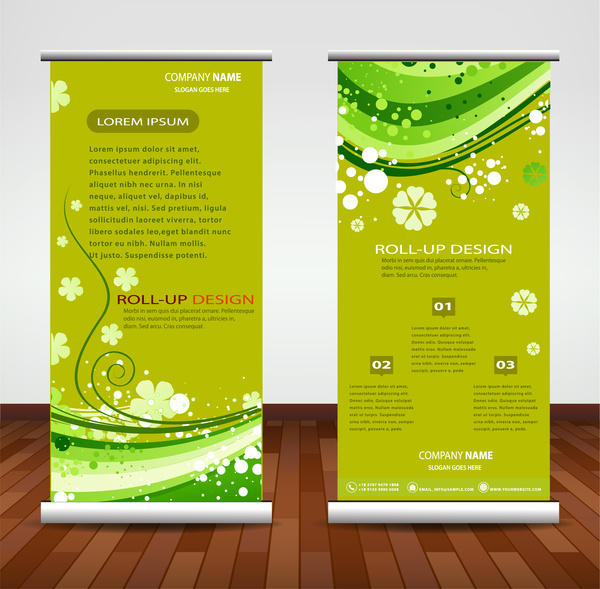 company banner illustration with artistic roll up design