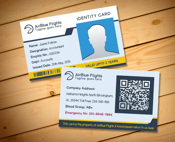 company employee identity card design templates free vector in adobe