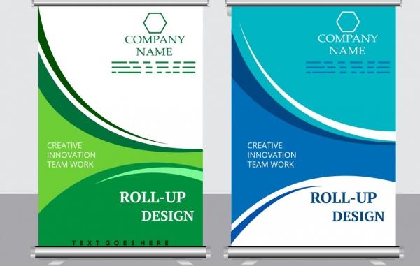 company poster templates blue green decor modern roll