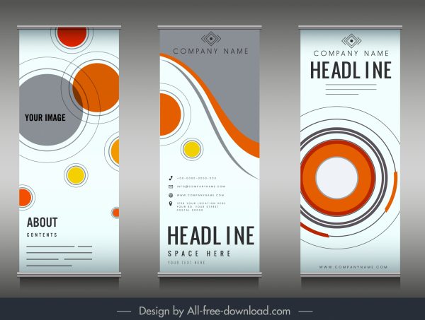 company poster templates colorful flat circles decor