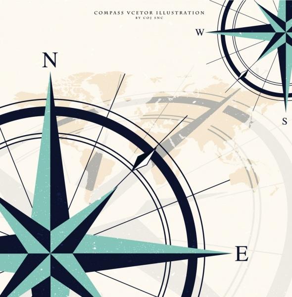 compass background circle sharp arrows retro design