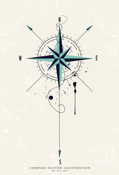 compass background flat classical design