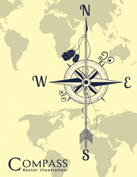 compass background retro design global map backdrop