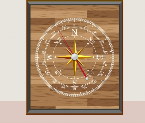 compass painting wooden decor realistic design