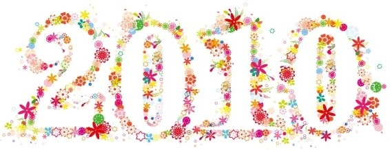 year 2010 background colorful floral numbering decoration