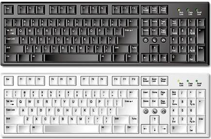 computer keyboard design sets black white realistic design