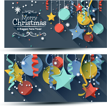 confetti with balloon christmas banners vector