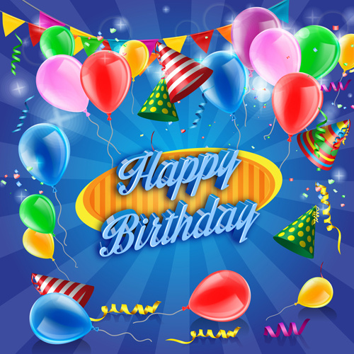 confetti with colored balloons birthday background