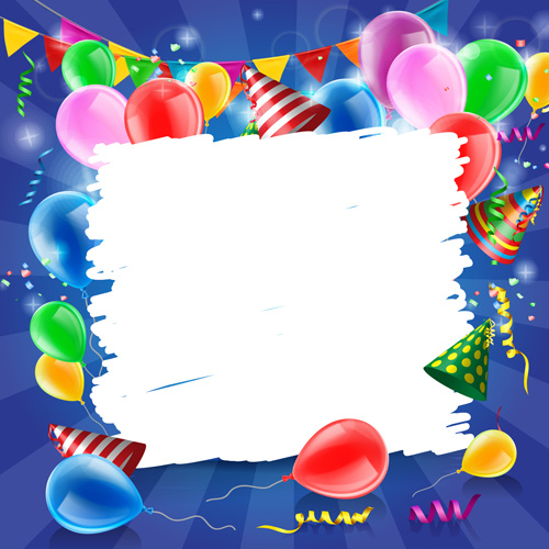 confetti with colored balloons birthday background free vector swirls background png vector swirls png