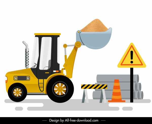 construction digger icon colored modern design