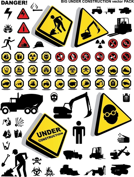 traffic construction sign collection silhouette decor