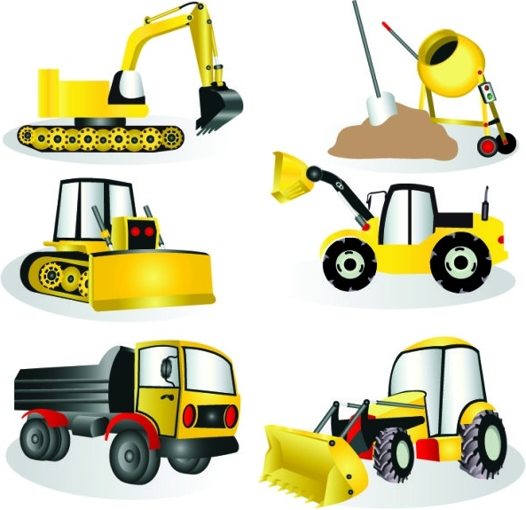construction site equipment vector