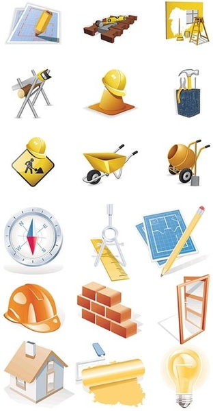construction site theme icon vector