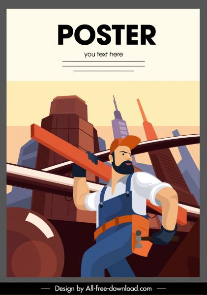 construction work poster cartoon character sketch
