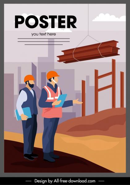 construction work poster site activity sketch cartoon design