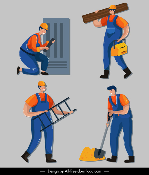 construction workers icons men sketch colored cartoon design
